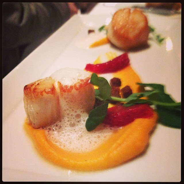 ONE Scallops with butternut squash puree, blood orange, pain d'epice, brown butter and bacon foam. Photo by @jonjfong