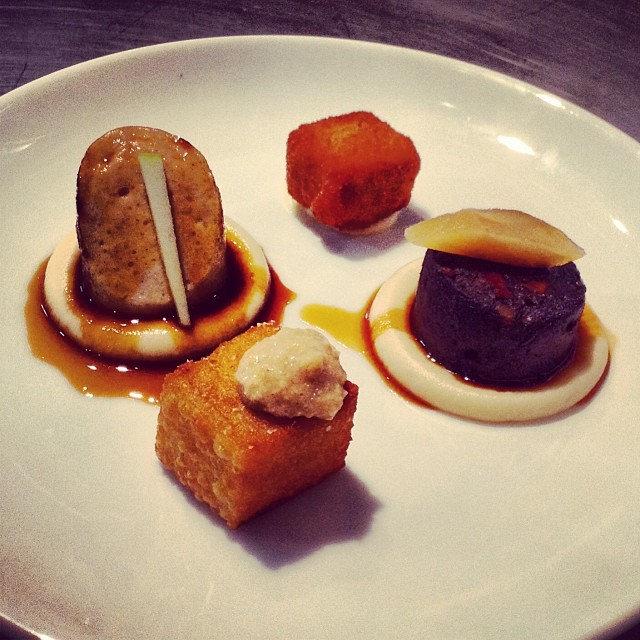 Boudin Noir (tongue, heart, face) and Blanc (with milk & eggs) with Celeriac Puree and Croquettes