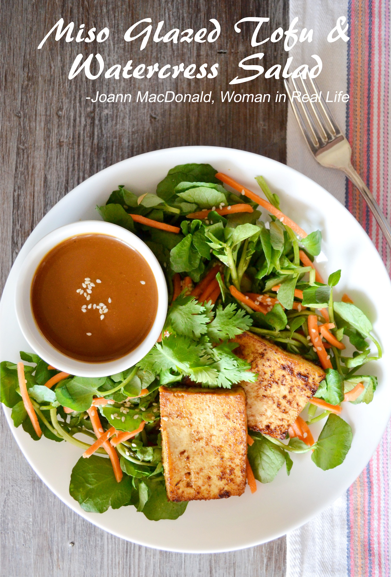 Miso Glazed Tofu & Watercress Salad
